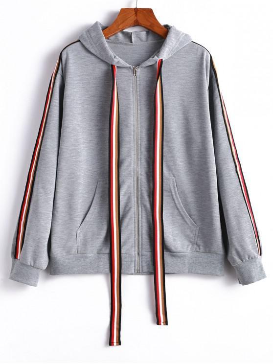 affordable Striped Tape Drop Shoulder Zipper Hoodie - LIGHT GRAY XL
