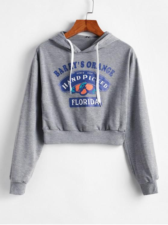 best Drawstring Cropped Hand Picked Graphic Hoodie - GRAY S