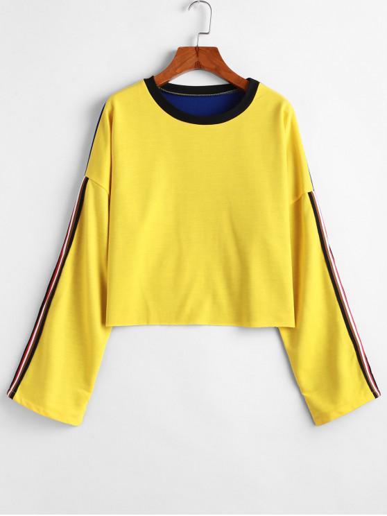 online Striped Drop Shoulder Raw Hem Sweatshirt - YELLOW L