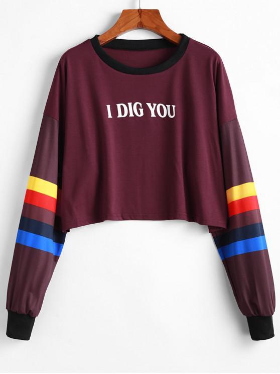 Sweat-shirt Court I Dig You Graphique à Goutte Epaule - Rouge XL