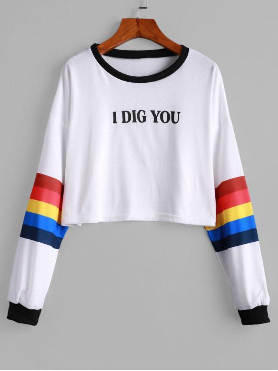 I Dig You Graphic sudadera corta con hombros caídos - Blanco XL