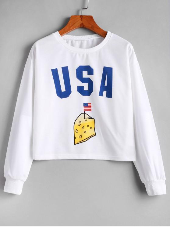 ladies Pullover American Flag Graphic Short Sweatshirt - WHITE L