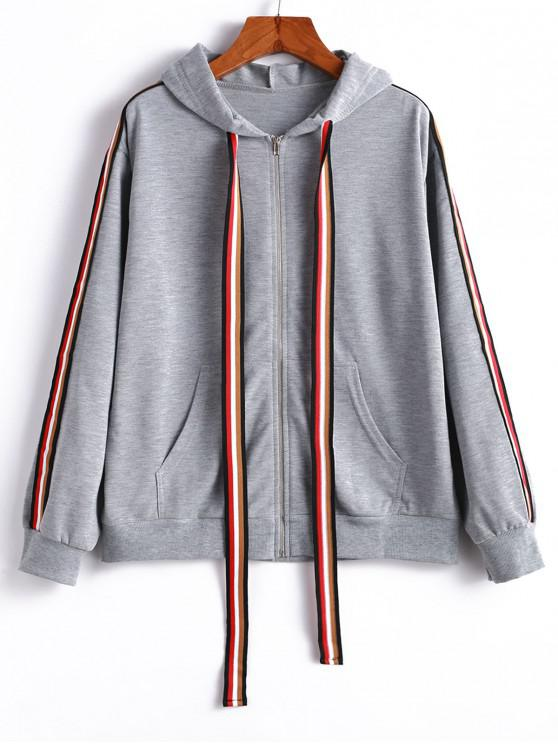 new Striped Tape Drop Shoulder Zipper Hoodie - LIGHT GRAY S