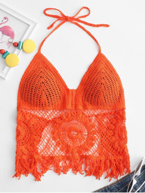 women's Knotted Back Tassels Crochet Halter Top - PUMPKIN ORANGE ONE SIZE