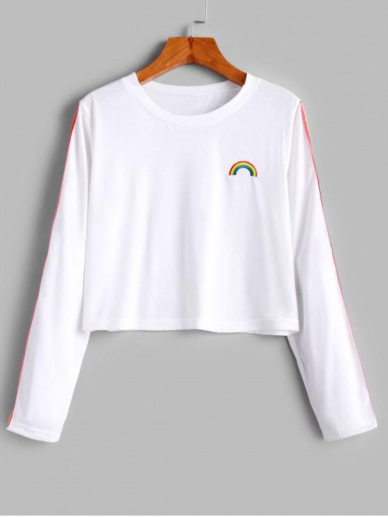 Camiseta corta con bordado de arco iris de cinta a rayas - Blanco S