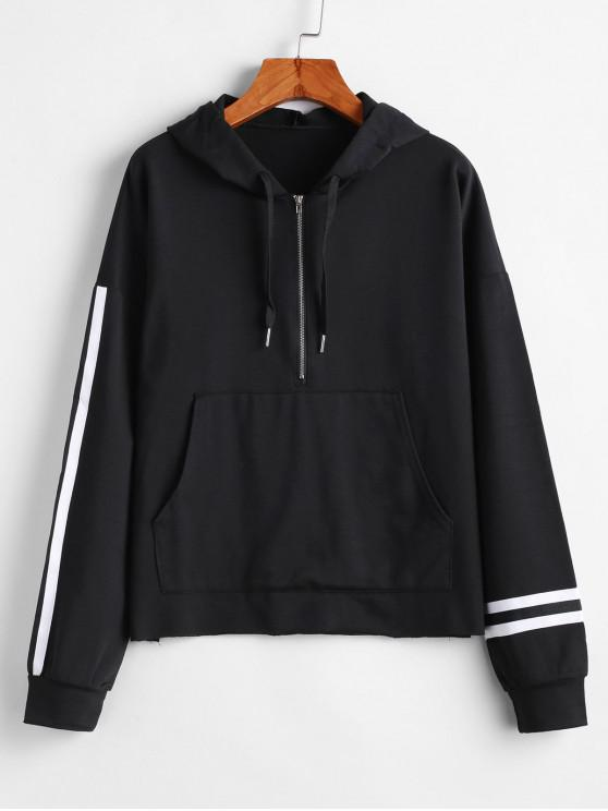 fashion Drop Shoulder Striped Half Zipper Hoodie - BLACK M