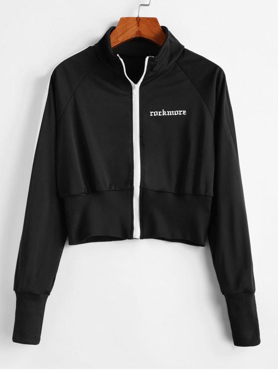 Sweat-shirt Zippé Rayé à Manches Raglan - Noir XL