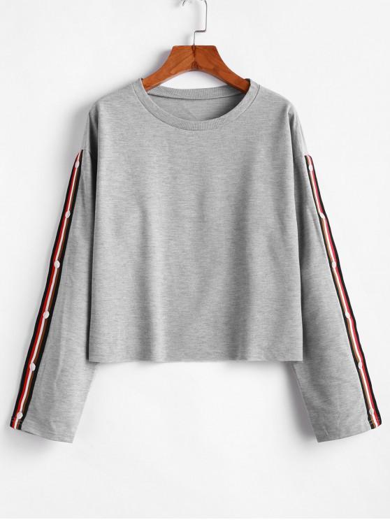 best Striped Tape Drop Shoulder Raw Hem Sweatshirt - LIGHT GRAY L