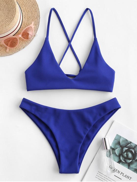 unique ZAFUL Crisscross Ribbed Bikini Swimsuit - BLUEBERRY BLUE M