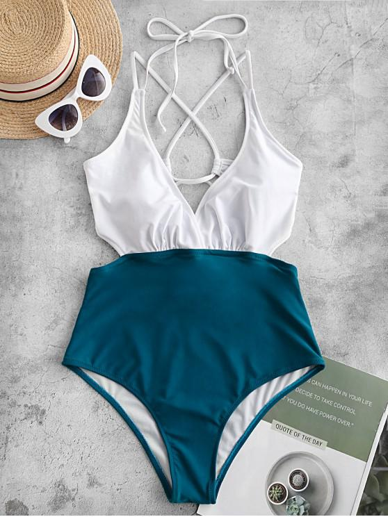 lady ZAFUL Two Tone Crisscross Cutout One-piece Swimsuit - PEACOCK BLUE M