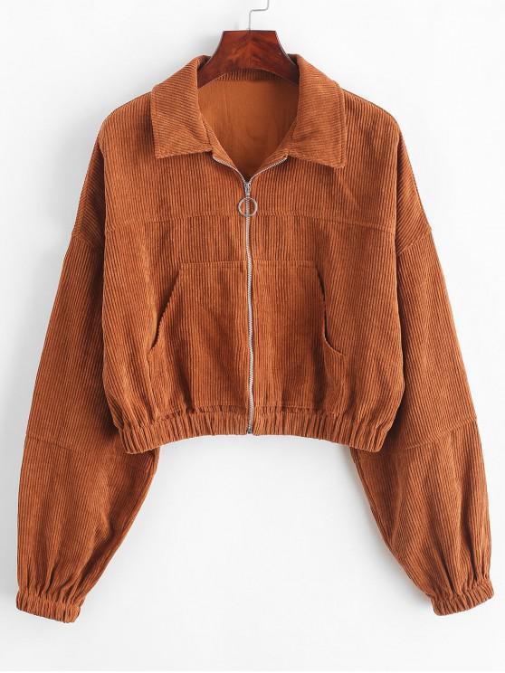 fancy ZAFUL Corduroy Pocket Pull Ring Drop Shoulder Jacket - WOOD L