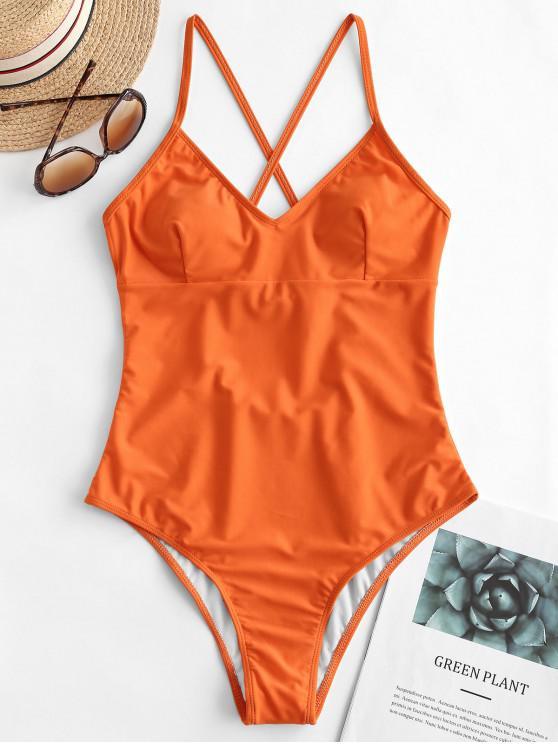 sale ZAFUL Crisscross Basic One-piece Swimsuit - PUMPKIN ORANGE M