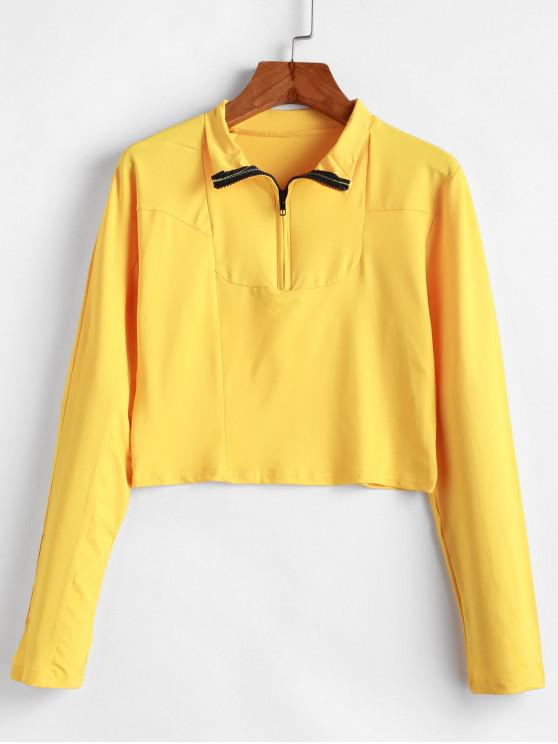 lady Half Zipper Casual Long Sleeve T-shirt - YELLOW L