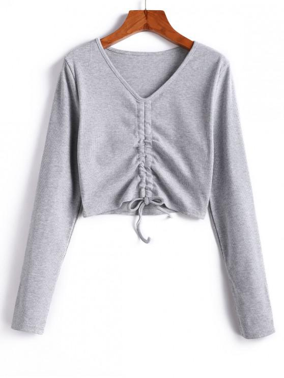trendy Cinched V Neck Crop Knitwear - GRAY M