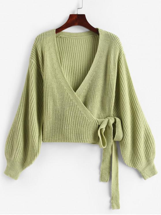 unique Lantern Sleeves Solid Crop Wrap Cardigan - GREEN ONE SIZE