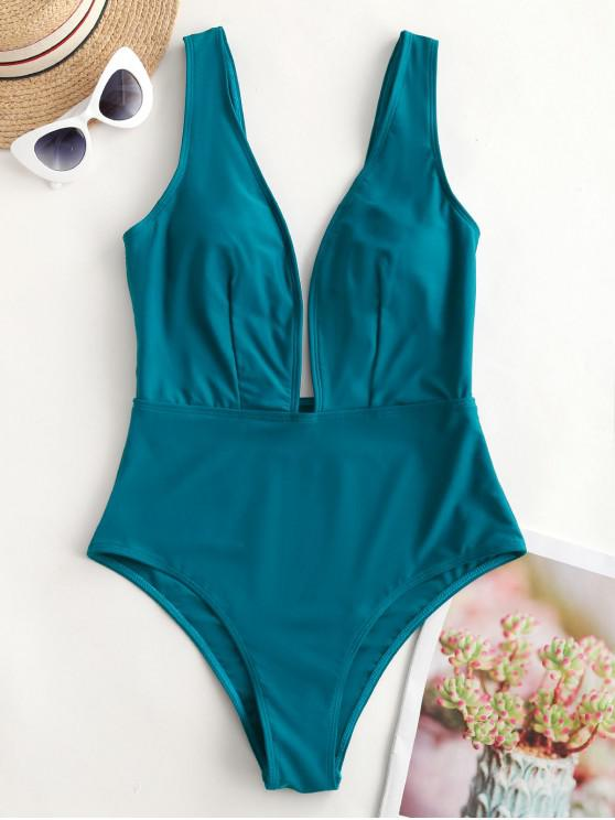 trendy ZAFUL Plunge One-piece Swimsuit - PEACOCK BLUE S