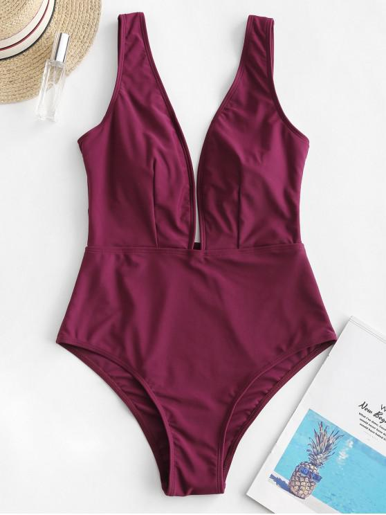 womens ZAFUL Plunge One-piece Swimsuit - MAROON L