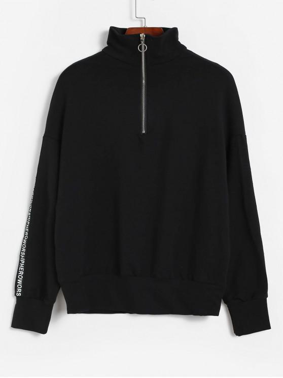 shop Drop Shoulder Half Zip Slogan Graphic Sweatshirt - BLACK L