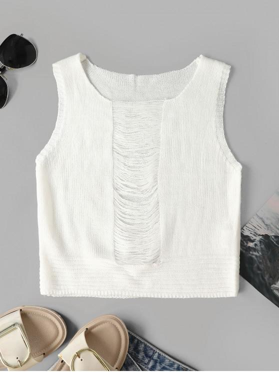 sale Ripped Crop Solid Knitted Tank Top - WHITE L