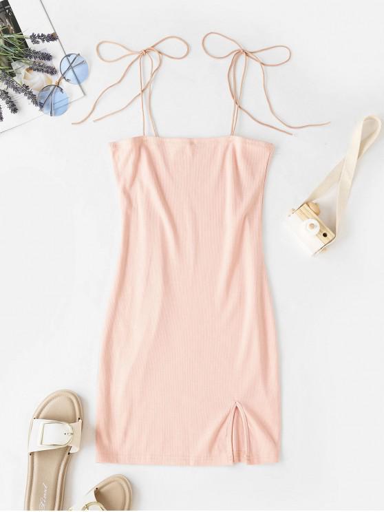 women Tie Shoulder Ribbed Slit Cami Dress - PIG PINK L