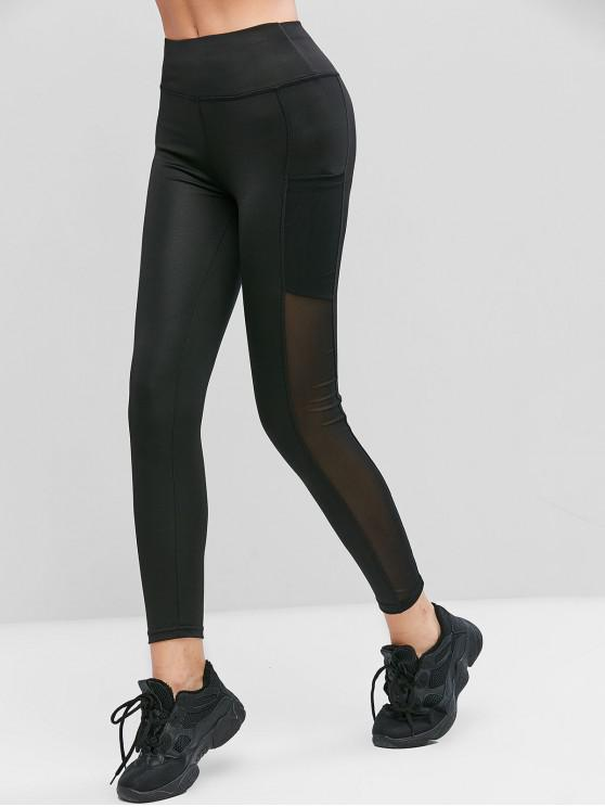 lady Mesh Panel Pockets High Waist Leggings - BLACK M