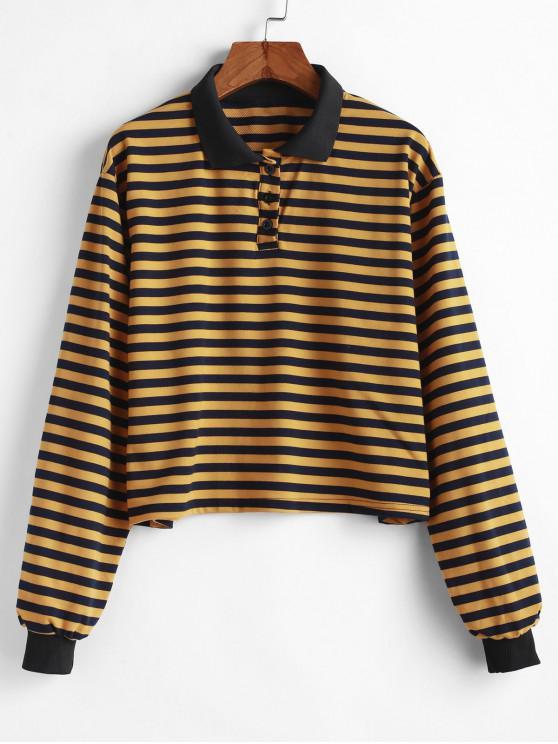 best Half Buttoned Stripes Pullover Sweatshirt - YELLOW S