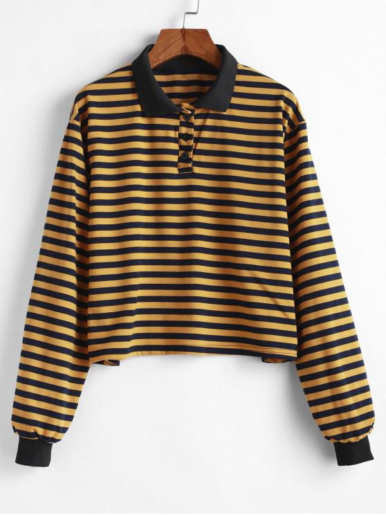 outfit Half Buttoned Stripes Pullover Sweatshirt - YELLOW L