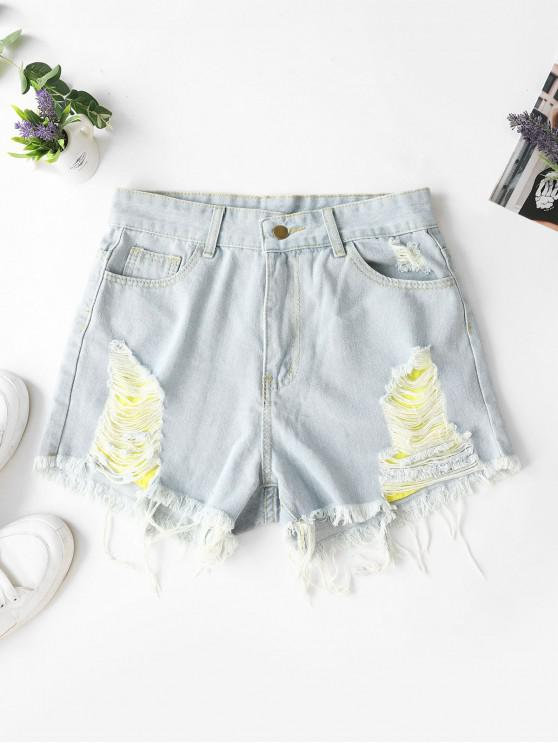 outfits Ripped Frayed Hem Denim Shorts with Pockets - JEANS BLUE M
