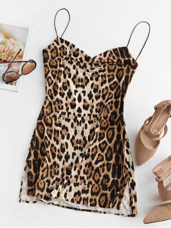 fashion Snakeskin Leopard Print Slits Flared Cami Dress - MULTI-A XL