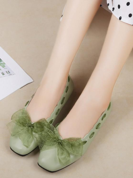 ladies Sweet Bow Square Toe Flat Shoes - GREEN EU 36