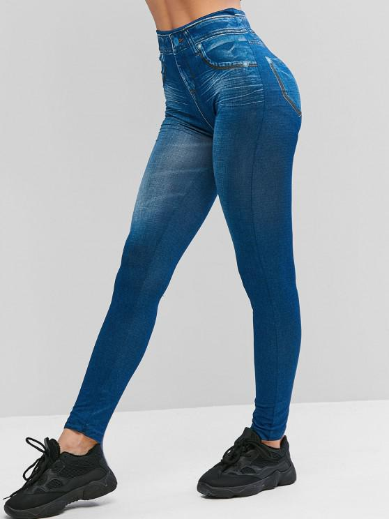 new High Waist 3D Printed Jeggings - BLUE S