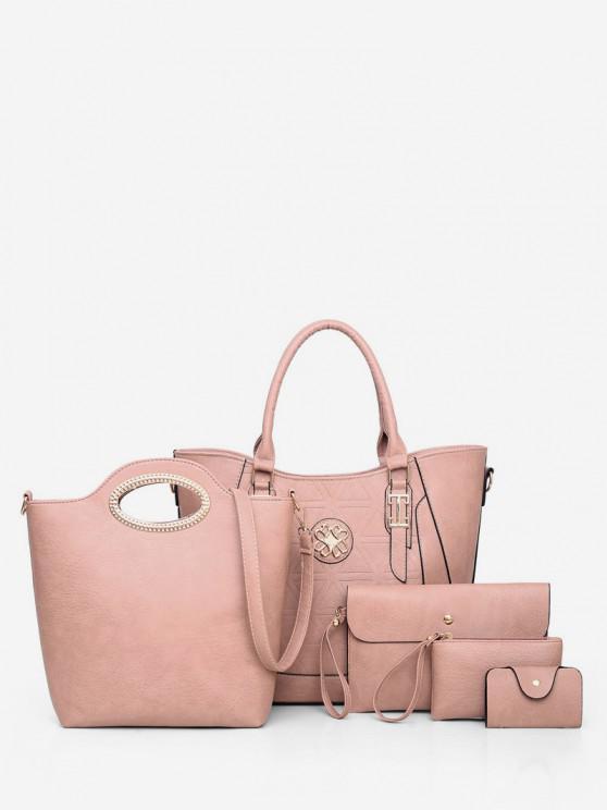 Set di 5 pezzi di borsa casual - Rosa chiaro