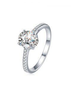 Alloy Oval Rhinestone Ring - Silver Us 7