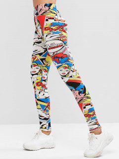 Pull On Cartoon Print High Waisted Leggings - Multi