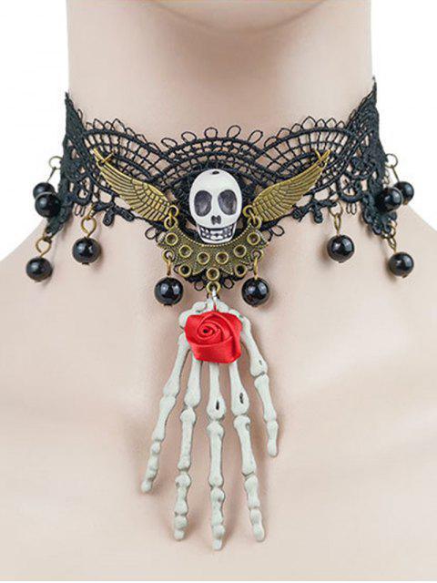 Ras-du-Cou d'Halloween Crâne Aile et Squelette en Dentelle - Noir  Mobile