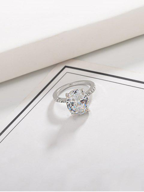 fashion Alloy Oval Rhinestone Ring - SILVER US 10 Mobile