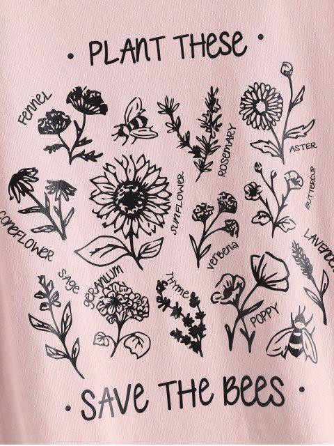 花卉拯救蜜蜂圖形基本T卹 - 粉 S Mobile