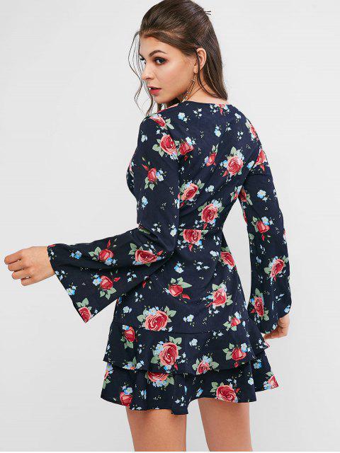 Vestido sobrepelliz floral con volantes ZAFUL - Azul de Pizarra Oscuro M Mobile