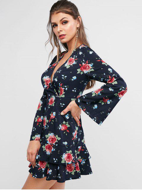 ZAFUL Robe Superposée Fleurie à Volants - Ardoise bleue foncée XL Mobile