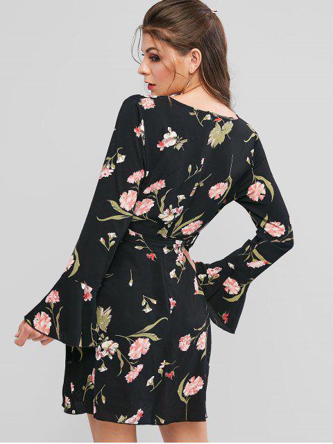 ZAFUL Robe Superposée Ceinturée Fleurie Imprimée à Manches Longues - Noir L Mobile