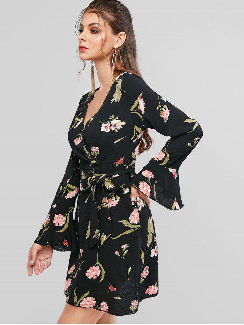 ZAFUL Robe Superposée Ceinturée Fleurie Imprimée à Manches Longues - Noir XL Mobile