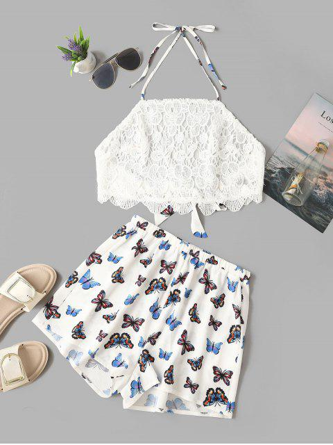 unique ZAFUL Guipure Halter Butterfly Print Shorts Set - WHITE M Mobile