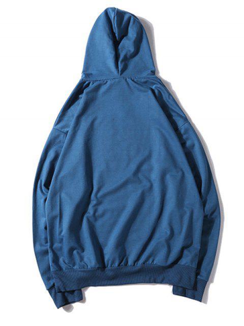 純色貼花抽繩套頭衫基本連帽衫 - 海藍色 L Mobile