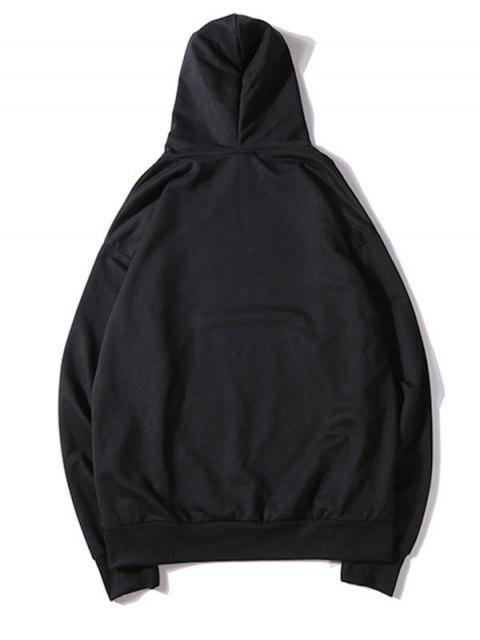 純色貼花抽繩套頭衫基本連帽衫 - 黑色 M Mobile