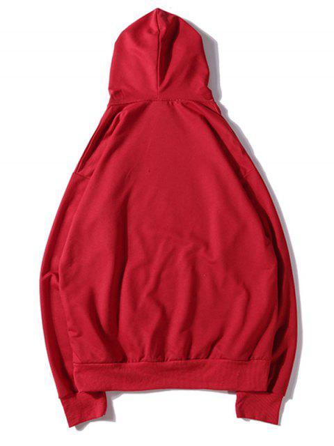 純色貼花抽繩套頭衫基本連帽衫 - 熔岩紅 XL Mobile
