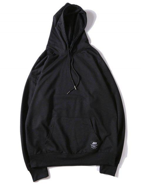 純色貼花抽繩套頭衫基本連帽衫 - 黑色 L Mobile