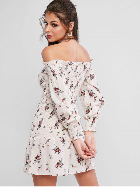 affordable ZAFUL Off Shoulder Smocked Tiny Floral Ruffles Dress - WARM WHITE M Mobile