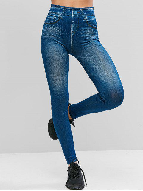 new High Waist Printed Jeggings - BLUE S Mobile