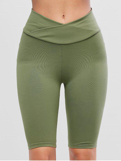 Solid Cross Front Scrunch Butt Biker短褲 - 綠色 L Mobile