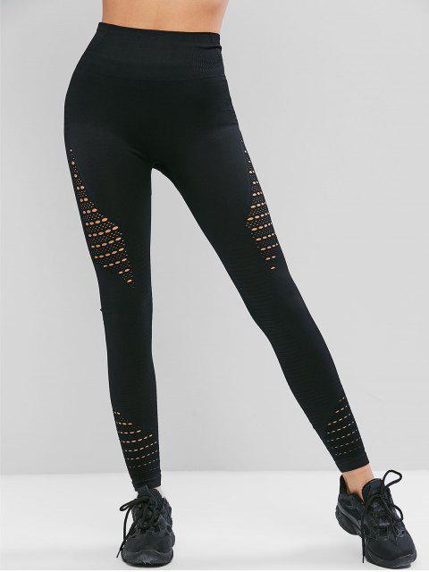 womens Openwork High Waist Solid Leggings - BLACK L Mobile